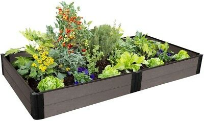 Raised Garden Bed 4 Ft. X 8 Ft. X 11 In. Rectangular Weathered Wood Composite • 177.21£