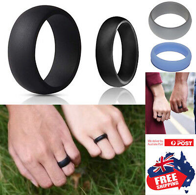 AU4.95 • Buy Silicone Rubber Wedding Ring Bands Flexible Comfortable Safe Work Sport Gym 1pc