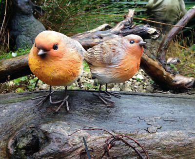 £9.99 • Buy 2pc Resin Robin Bird Set Detailed Garden Ornaments Decoration Patio Door Pond