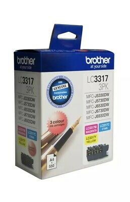 AU86.95 • Buy Genuine Brother LC-3317 3-Ink Colour Pack For MFC-J6930DW/J6730DW/J6530DW