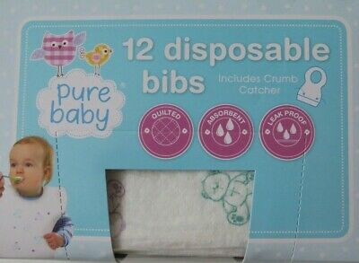 £6.99 • Buy Disposable Baby Bibs No Mess Or Stress Feed & Bin Travel Safe Free Crumb Catcher