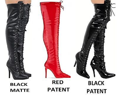 £31.99 • Buy Ladies Thigh High Over The Knee Fetish Boots Front Lace Stiletto Heel Sizes 3-12