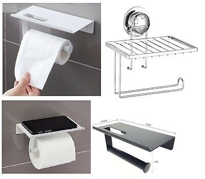 £6.95 • Buy Toilet Roll Holder Wall Mounted With Mobile Phone Storage Bathroom Shelf New