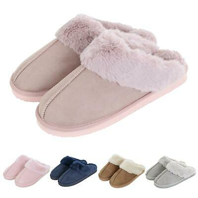 Womens Autumn Faith Ladies Faux Suede Fleece Mule Slippers Hard Non Slip Sole • 15£