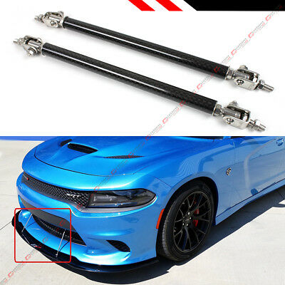 $16.99 • Buy Carbon Fiber Look Adjustable Front Bumper Lip Splitter Strut Rod Tie Support Bar