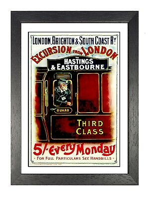 £5.99 • Buy Third Class Hastings & Eastbourne Old Advert Poster London Railway Photo Guard