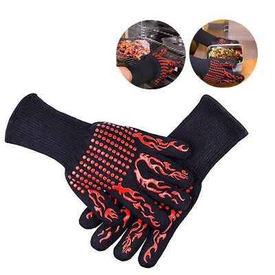 £7.72 • Buy Anti-slip Silicon Barbecue BBQ Cooking Glove Grill Heat-proof Oven Mitts