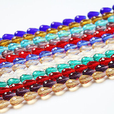 Teardrop Crystal Glass Faceted Loose Beads Jewellery Making Findings DIY Crafts • 2.84£