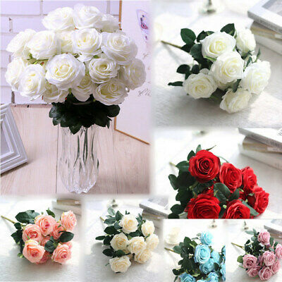 £6.86 • Buy 10 Heads Silk Rose Artificial Flowers Fake Bouquet Buch Wedding Home Party Decor