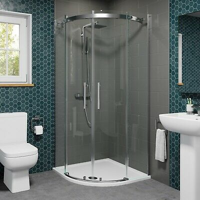 900 X 900mm Quadrant Shower Enclosure Frameless Walk In 8mm Glass Tray & Waste • 309.99£