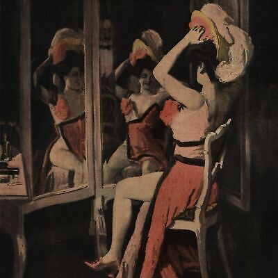 Show Girl In Dressing Room Fancy Dress & Hat C.1911 Art Nouveau Jugendstil Print • 24.75£