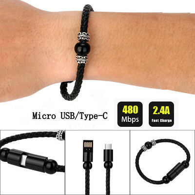 $1.54 • Buy USB Data Charging Bracelet Wrist Band Cable For Samsung Huawei Type C Mirco USB