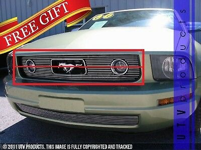 $189 • Buy GTG 2005 - 2009 Ford Mustang V6 With Pony Package 2PC Polished Billet Grille Kit