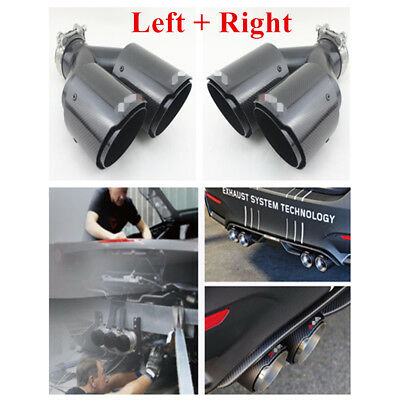 $ CDN170.16 • Buy Left+Right ID:2.5  63mm OD:3.5  89mm Carbon Fiber Dual Exhaust Pipe Tail Muffler
