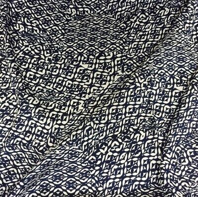 Navy And White Aztec Print Silky Polyester Satin Crepe Fabric 58  Wide M145-30 • 6.99£
