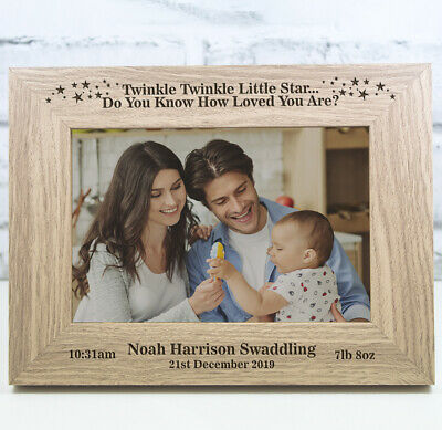 £11.99 • Buy Personalised New Baby Photo Frame Christening Gift Birth Twinkle Twinkle