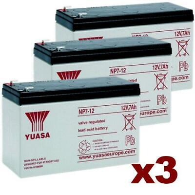 Yuasa NP7-12 Rechargeable 12v 7Ah Battery Pack Of 3 X Batteries VRLA Sealed Lead • 44.99£