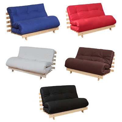 £115 • Buy Luxury Futon Bed Wooden Frame Guest Sofa Bed Folding Mattress Double Or Single