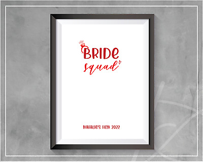 £3.99 • Buy Bride Squad Kiss The Miss Goodbye Print | Hen Party Games Hen Party Keepsake A4
