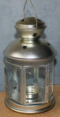 $8.60 • Buy Ikea Rotera Lantern For Tea Light Candle Indoor Outdoor Silver Stars Pre Owned