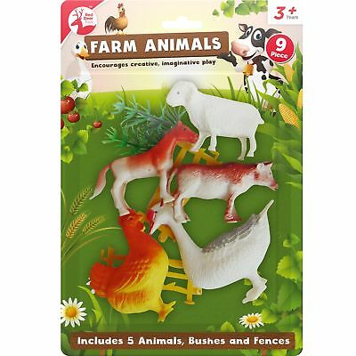 8pc Large Big Farm Animals Plastic Toys Model Playsets Cow Chicken Horse Figures • 2.79£