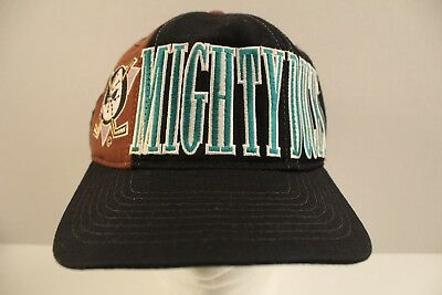 5ffd5799c56d5 Vtg Anaheim Mighty Ducks NHL Starter Snapback Hat Hockey Cap Spellout Tri  Power • 32.99