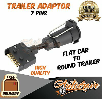 AU15.95 • Buy Trailer Adapter Plug 7 PIN Flat Male To Round Female Caravan Boat Connector Part