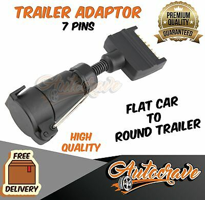 AU15.95 • Buy Trailer Adapter Plug 7 PIN Round Female To Flat Male, Caravan, Boat Connector