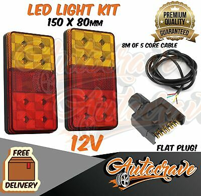 AU39.95 • Buy LED TRAILER TAIL LIGHT KIT PAIR FLAT PLUG 5 CORE WIRE CARAVAN BOAT 150x80mm