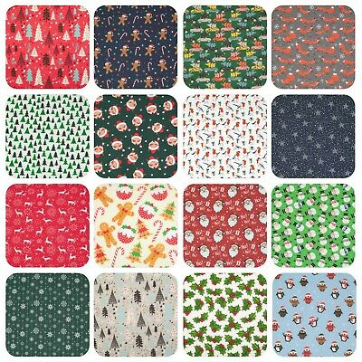 Christmas Polycotton Fabric Material FAT QUARTER / BY THE METRE BUY 3 GET 1 FREE • 2.75£