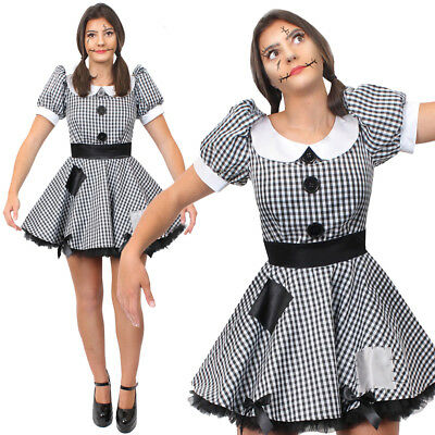Ladies Broken Doll Costume Adult Halloween Horror Fancy Dress Outfit • 19.99£