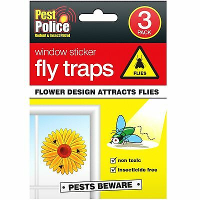 3pc Window Stickers Fly Traps Non Toxic Safe Killer Glue Catcher Greenhouse Home • 1.99£