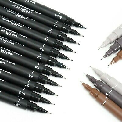 Uni Pin Fine Liner Pen Pigment Marker Waterproof Ink - 0.03mm - 0.8mm - Brush • 2.75£