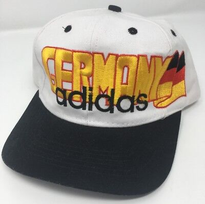 Vintage Adidas Germany Flag Cap Hat Snapback World Cup Olympics White Rare Sport • 21.50£