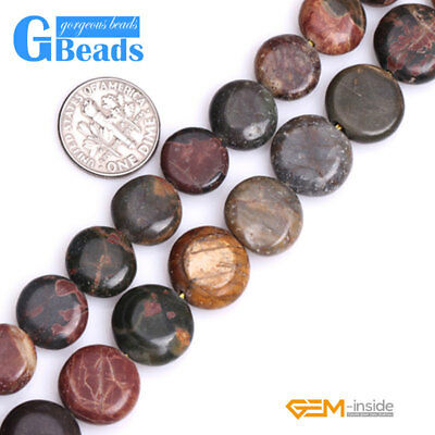 £5.27 • Buy Natural Picasso Jasper Gemstone Coin Flatback Beads Free Shipping Strand 15