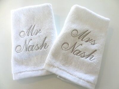 Personalised 2 Face Cloth Set - Any Text - Wedding Anniversary  Embroidered Gift • 4.99£