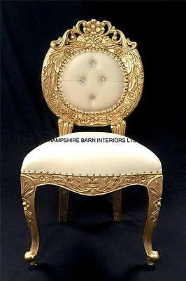Ornate Chair Gold Cream  Faux Leather Crystals Dining Side Shop Wedding Salon • 425£