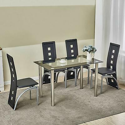 $173.89 • Buy 5 Piece Glass Dining Table Set 4 Chairs Room Kitchen Breakfast Furniture