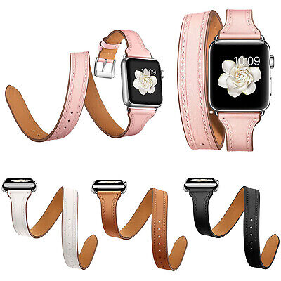 AU25.01 • Buy Slim Genuine Leather Strap For Apple Watch Series 6 5 4 3 2 Band 44/40mm 38/42mm