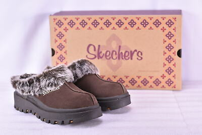 Women's Skechers Shindigs- Fortress Faux Fur Lined Mules Chocolate     • 22.58£