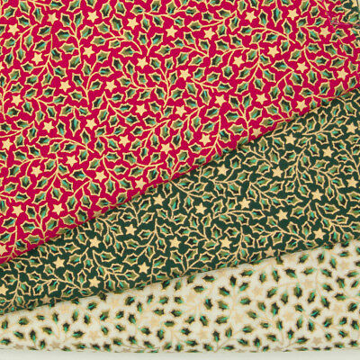 100% Cotton Christmas Fabric HOLLY STAR Red Green Ivory Gold Metallic Material • 9.99£