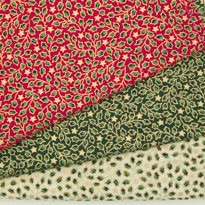 100% Cotton Christmas Fabric HOLLY STAR Red Green Ivory Gold Metallic Material • 5.95£