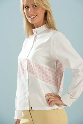 £9.49 • Buy Ladies Show Shirt Equestrian Horse Riding Jumping White Pink Rockfish Riders NEW