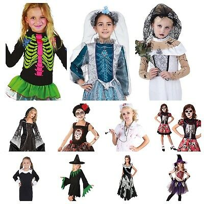 Kids Girls Scary Zombie Vampire Skeleton Witch Ghost 20+ Halloween Costumes • 6.99£