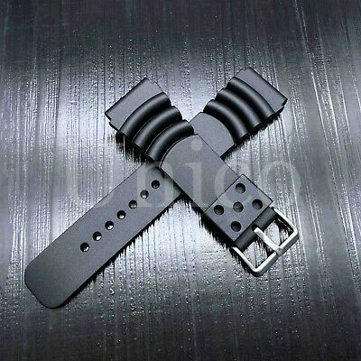 $ CDN11.38 • Buy 20 22 24 MM Black Silicone Rubber Watch Band Strap Fits Seiko Diver Water Black