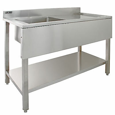 Sink Stainless Steel Commercial Catering Kitchen Single Bowl 1.0 Unit RH Drainer • 309.99£