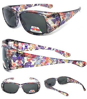 Women Polarized FIT OVER Sunglasses Cover Rx Glasses Rhinestones Butterfly Print • 8.96£