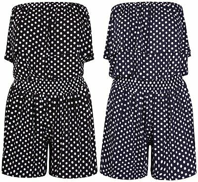 Women's Ladies Polka Dot Frill Bandeau Short Playsuit Ladies Play Suit Size 8-24 • 11.99£