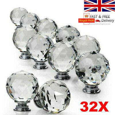 Clear Crystal Diamond Glass Door Knobs Cupboard Drawer Furniture Handle Cabinet • 4.74£
