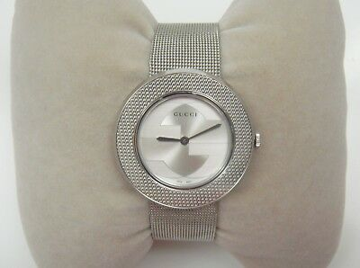 1f214bd3932  690 Gucci U-Play GG Dial   Silver Tone Stainless Steel Mesh Women s Watch •